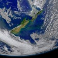 Phytoplankton blooming in New Zealand to the east of the islands and along the Chatham Rise area of ocean floor.