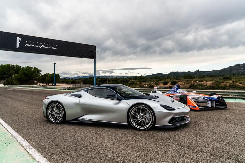 Pininfarina Battista and Mahindra Racing Formula E race car