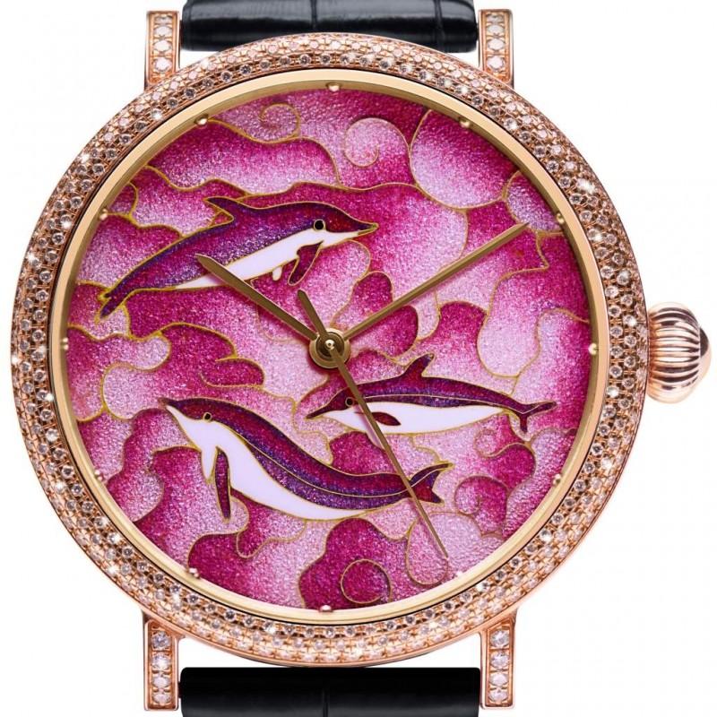 Pink Dolphin Bay Wiry Enamel Wrist Watch