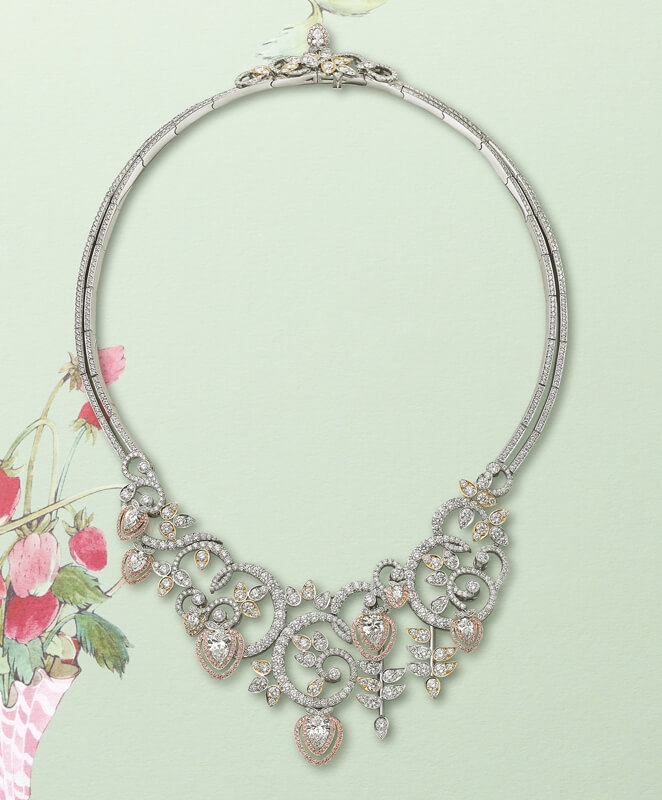 Pink and white pear shaped and brilliant cut diamond necklace set in platinum and rose gold