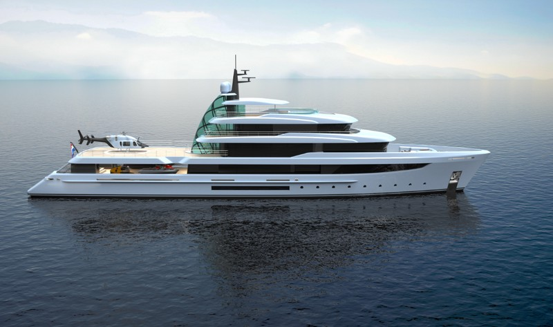 Project Crystal yacht exterior - on water-