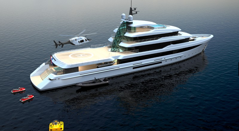 Project Crystal yacht exterior - on water