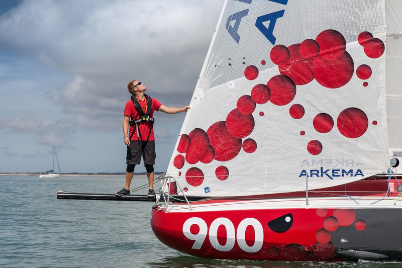 Quentin Vlamynck on board the Mini 6.50 Arkema during its first outing at sea in June 2016
