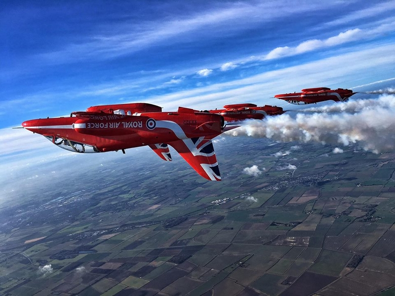 RAF Red Arrows in fomation