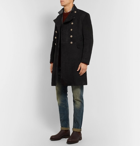 RRL Slim-Fit Double-Breasted Suede Coat