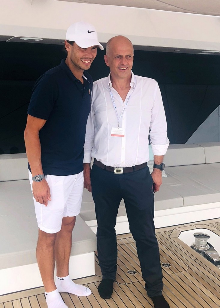 Rafael Nadal and Sunreef yacths founder at 2018 Cannes Yachting Festival