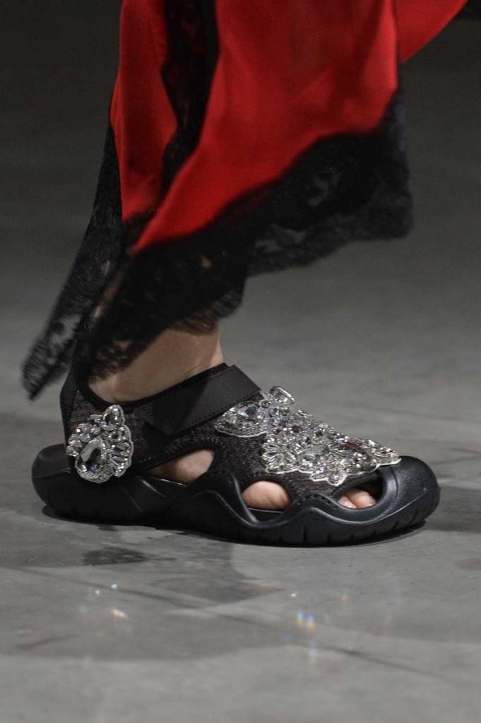 Rhinestone-encrusted Crocs Swiftwater Sandal in black