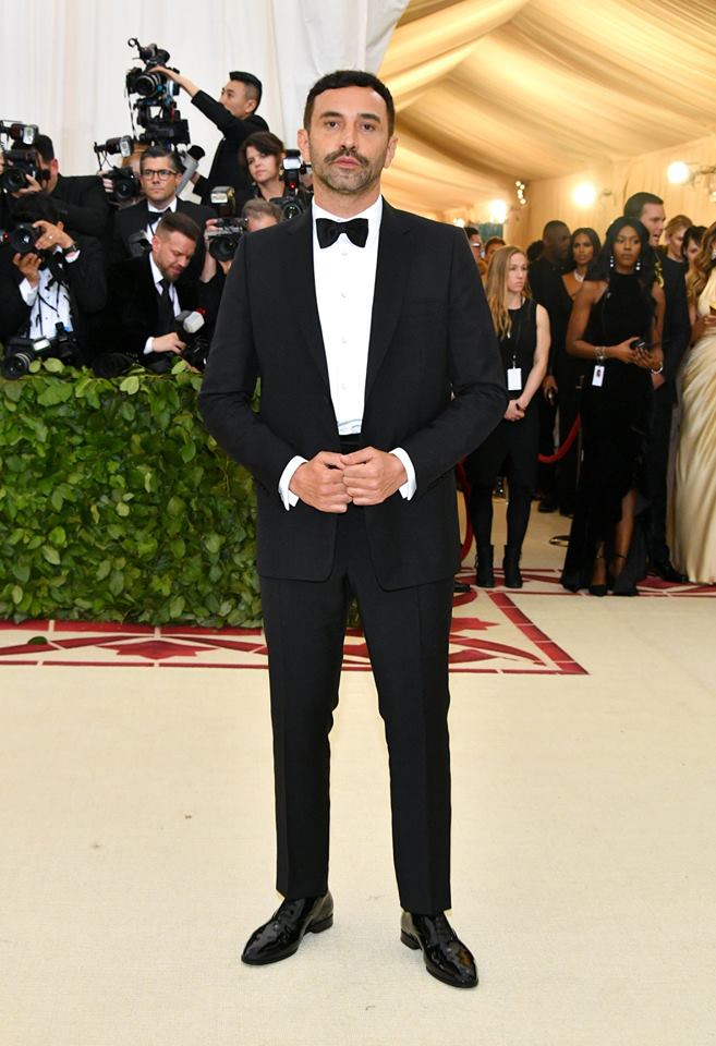 Riccardo Tisci, Burberry Chief Creative Officer, wearing Burberry at the 2018 Met Gala in New York