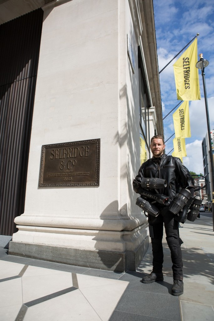 Richard Browning outside Selfridges_launches jet suit exclusively at Selfridges