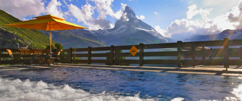 Riffelalp Resort 2222m, the highest luxury hotel in Europe- outdoor pool