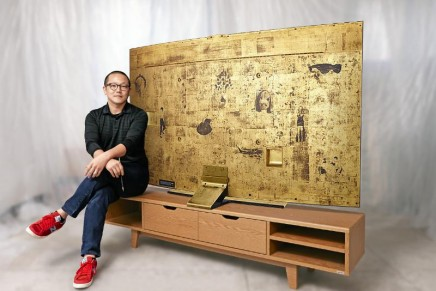 Gold Edition Samsung Curved UHD TV elevated to a true work of art