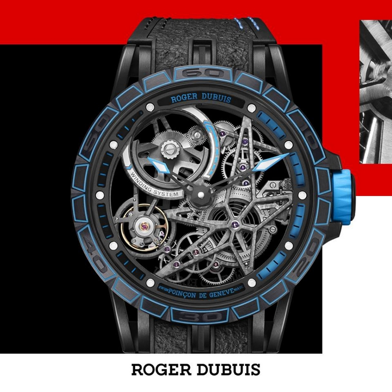 Roger Dubuis Excalibur Pirelli Automatic Skeleton in bold blue just like its counterpart Pirelli CINTURATO Wet Blue winning tyre that competed in real races