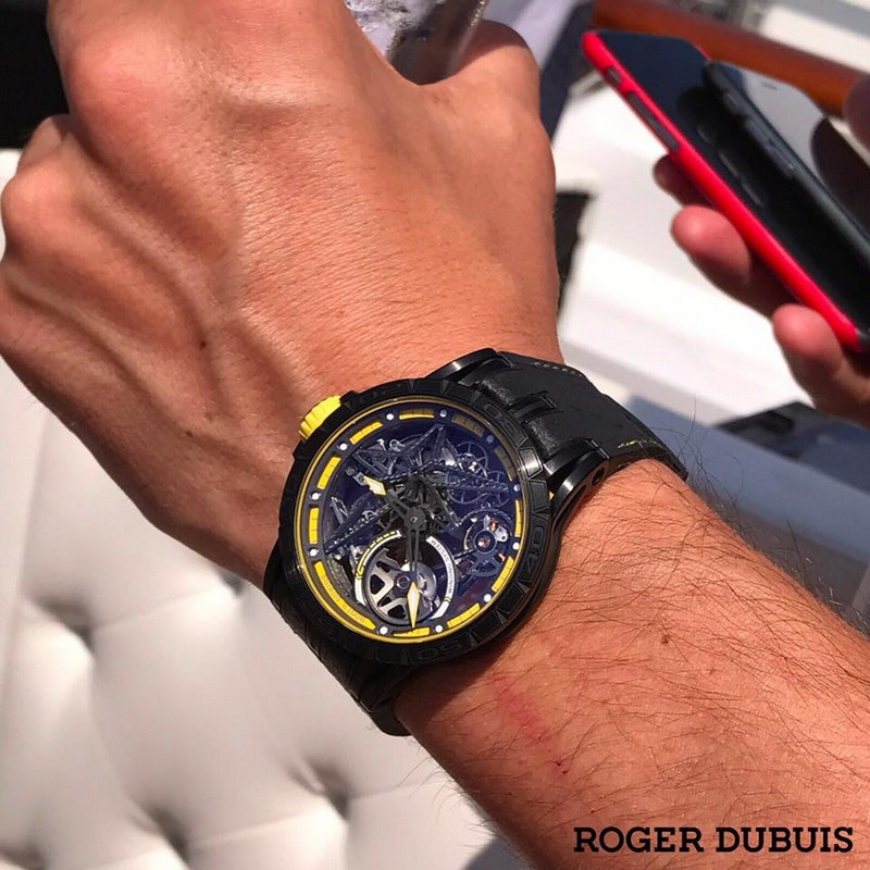 Roger Dubuis Excalibur Spider Pirelli timepieces are performed with winning motorsport rubber-