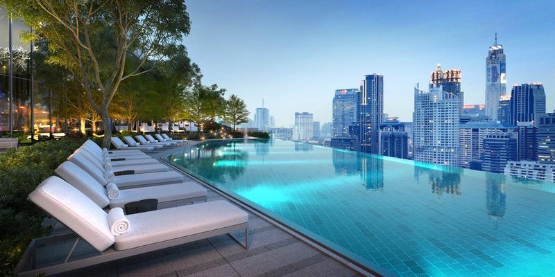 Rooftop swimming pool at Park Hyatt Bangkok luxury hotel 2017