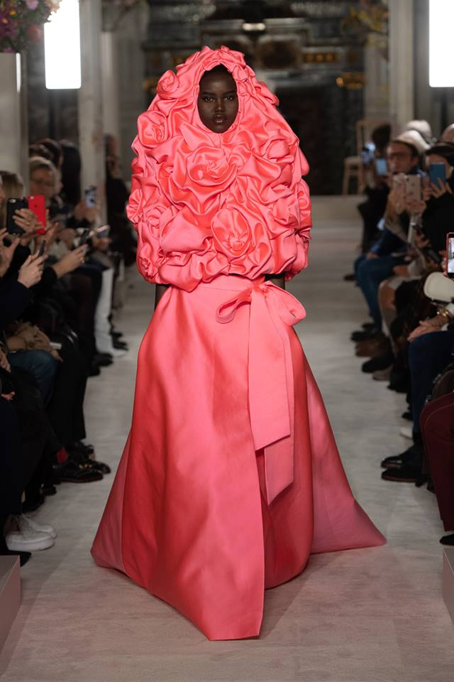 Rosa Madame Pierre Oger cape scattered with roses and rose fluo scuba skirt