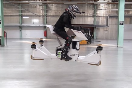 World's first rideable hoverbike can be used also for drone-car, drone-taxi, and cargo-drone