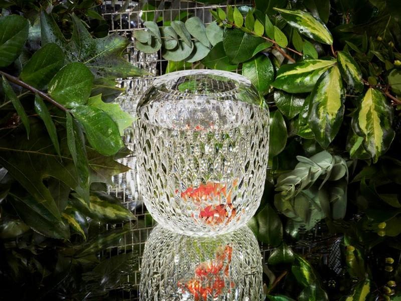 Saint-Louis Folia Collection-green vase