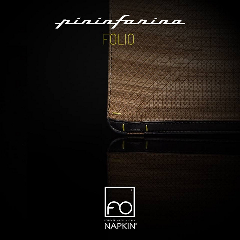 Sartorial materials and finishing, Italian design and artisanal production - this is Folio, the new NapkiForever by Pininfarina