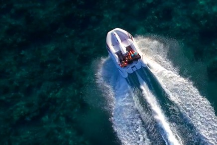 This boat combines the excitement of a jet ski with the comfort and safety of an inflatable  boat