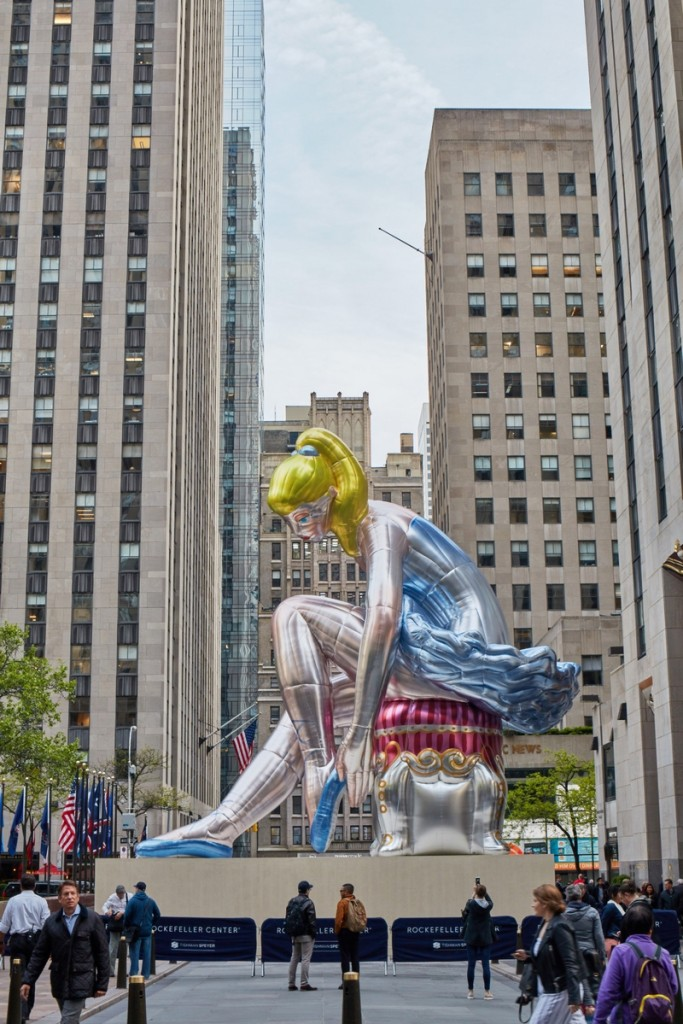 Seated Ballerina by Jeff Koons on view at Rockefeller Center NY