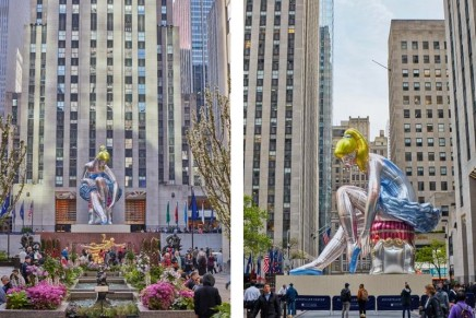 Charitable projects: Seated Ballerina by Jeff Koons on view at Rockefeller Center New York