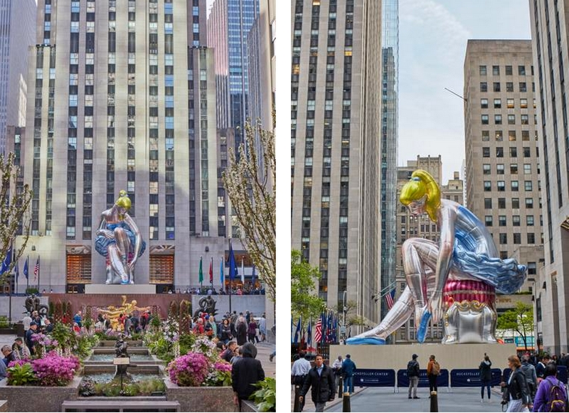 Seated Ballerina by Jeff Koons on view at Rockefeller Center New York 2017
