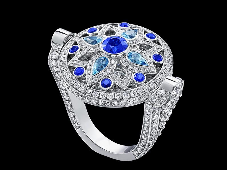 Secret Wonder by Harry Winston, Reversible Diamond, Sapphire and Aquamarine Ring