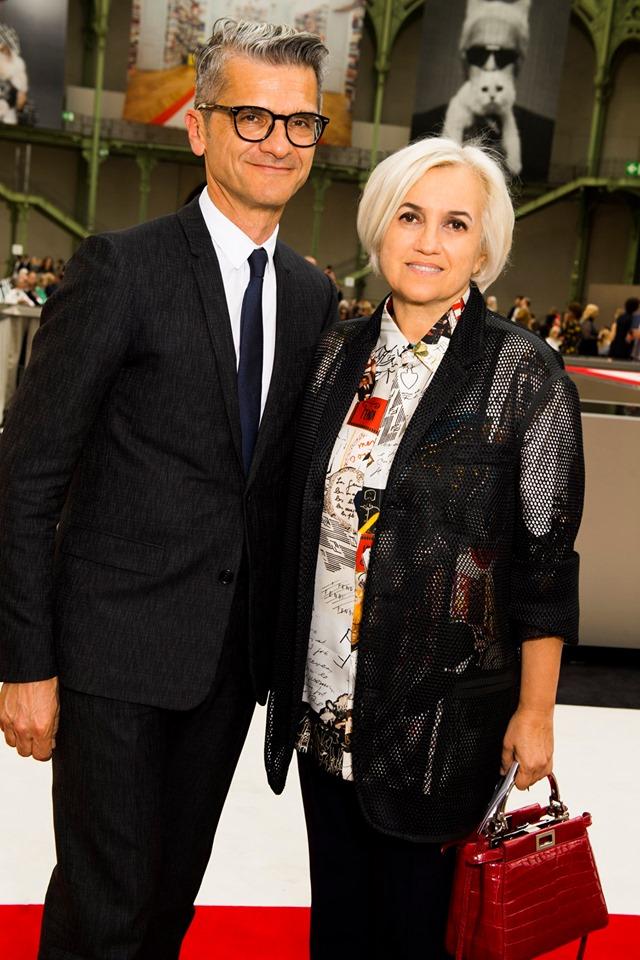 Serge Brunschwig Fendi Chairman and Fendi CEO and Creative Director Silvia Venturini Fendi attending Karl For Ever Memorial