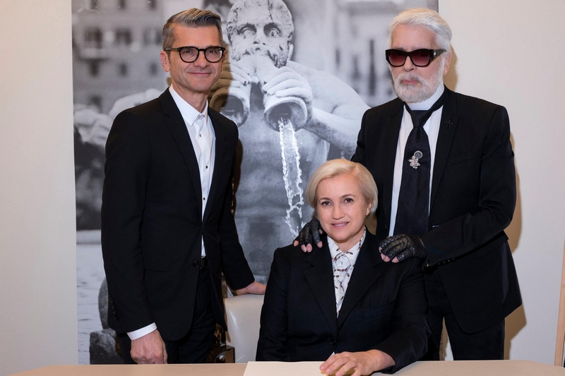 Serge Brunschwig, the new Chairman and CEO of Fendi, joined Creative Directors Karl Lagerfeld and Silvia Venturini Fendi
