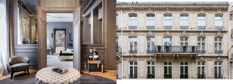 Situated in the heart of the 8th district in Paris, this apartment occupies the entire 3rd floor