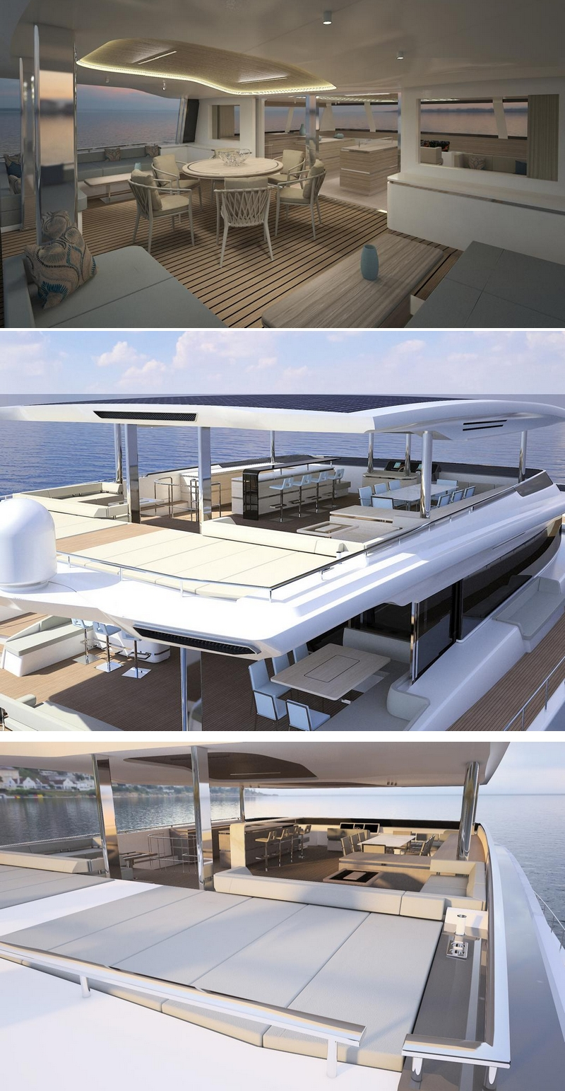 Solar-powered Silent 80 Tri-Deck - Silent Yachts' most spacious catamaran to date-