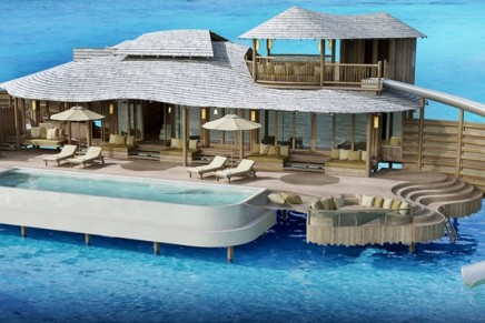no news, no shoes: Soneva Fushi's first-ever over water villas come with their own private pool, as well as a curving slide