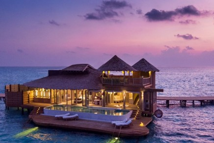 """Soneva opens luxury water villas resort in Maldives. All villas feature a retractable roof for stargazing and """"silent cinema"""""""