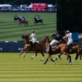 South America (navy) and England fight for the ball during The Royal Salute Coronation Cup at Guards Polo Club in Windsor Great Park-