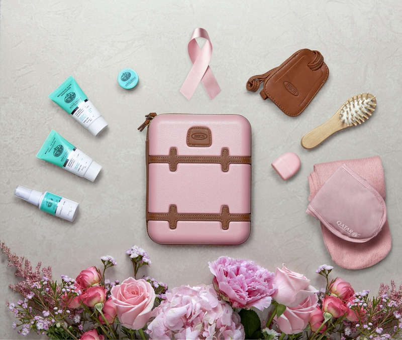 Special limited edition pink amenity kits are now being offered to Qatar Airways customers-
