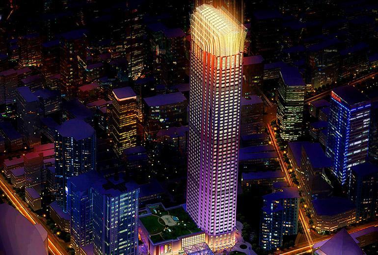 St. Regis Shanghai Jingan Hotel - Luxury HOTEL EXTERIOR, NIGHT VIEW - RENDERING