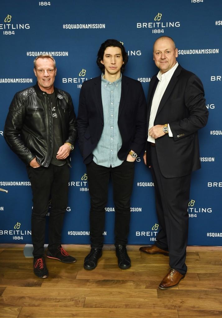 Stuart Garner, Adam Driver and Thierry Prissert at the Breitling Premier Norton Edition Event in New York