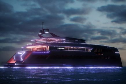 Geared toward entertaining: Sunreef Yachts is covering its 49M Sunreef Power in neon lights