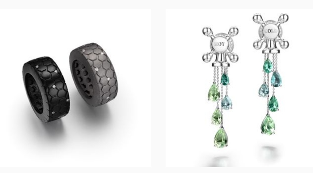 Suzanne Syz A glass of hot tourmalines please... or shall i take a cold one - All Tired up rings in titanium and diamonds
