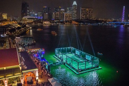 Maria Sharapova unveiled Singapore's first floating tennis platform