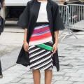 Tessa Thompson wearing a Roksanda coat, Mary Katrantzou skirt & Sophia Webster heels in Philadelphia