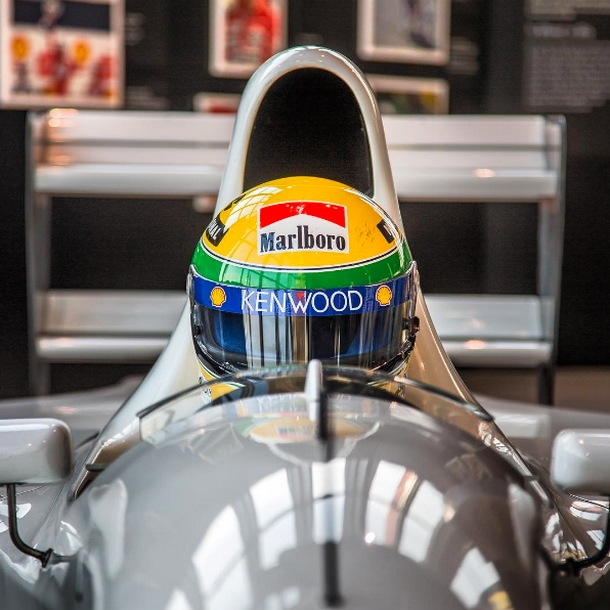 The 1993 McLaren with the Lamborghini engine tested by the legendary ayrtonsenna is displayed at Lamborghini Museum in S.Agata Bolognese