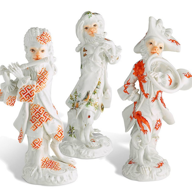 The Asprey edition of the Monkey Orchestra - figurines close up-