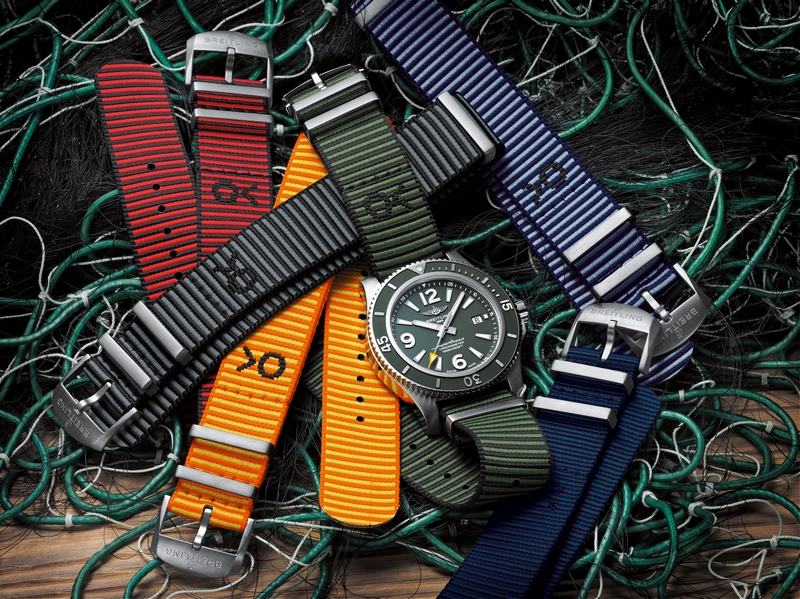 The Breitling Superocean Automatic 44 Outerknown and sustainable Outerknown ECONYL NATO strap collection
