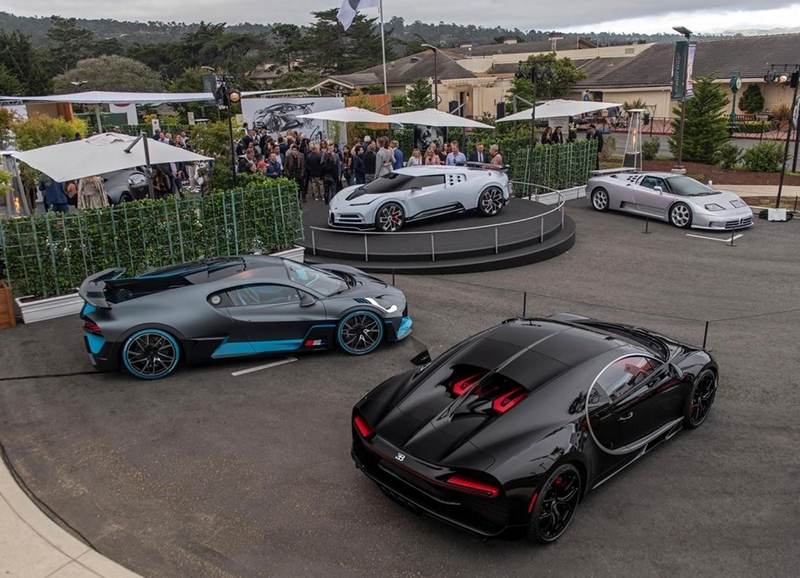The Centodieci, EB110, Divo and Chiron Sport - a unique display on the BUGATTI stand only at Pebble Beach Concours d'Elegance