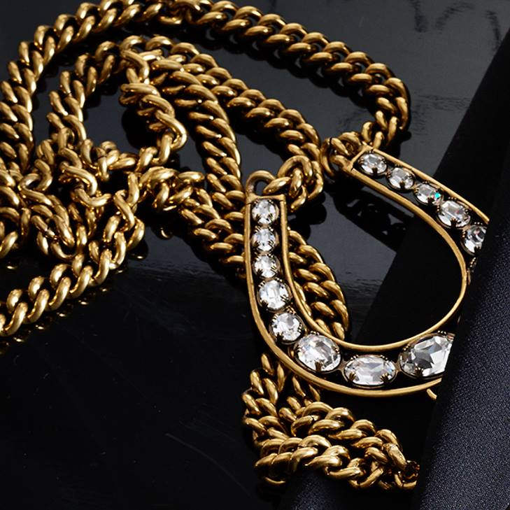 The Double-Chain Pendant Necklace, with a crystal-studded horseshoe