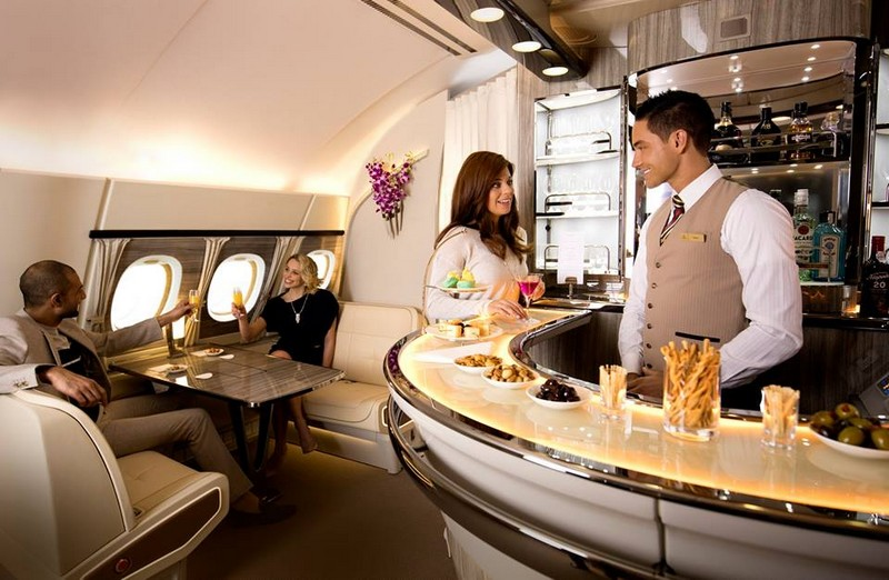 The Emirates A380 features the iconic Onboard Lounge