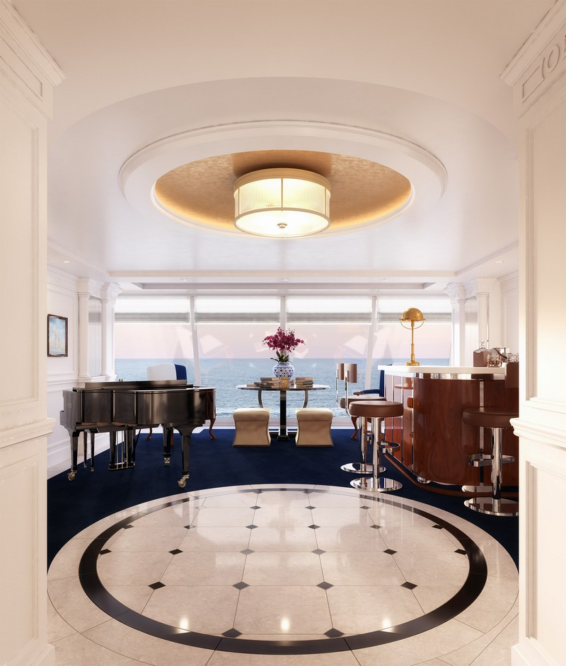 The Grand Foyer in the re-designed Owner's Suite onboard Marina and Riviera