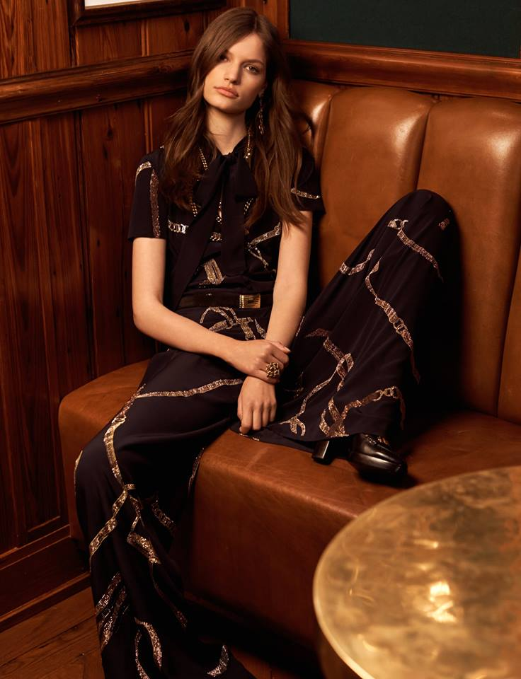 The Isabelle Silk Jumpsuit, embellished with micro crystals over the season's signature RL equestrian print