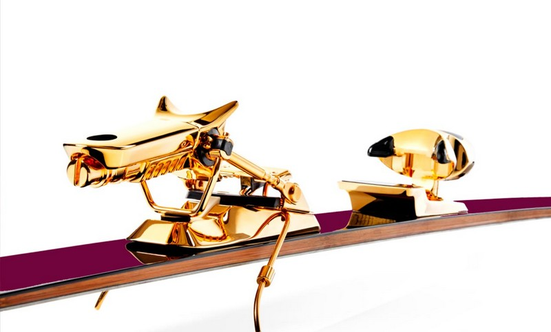 The Jackie Chan Oro-Amaranto ultra-luxury ski bindings